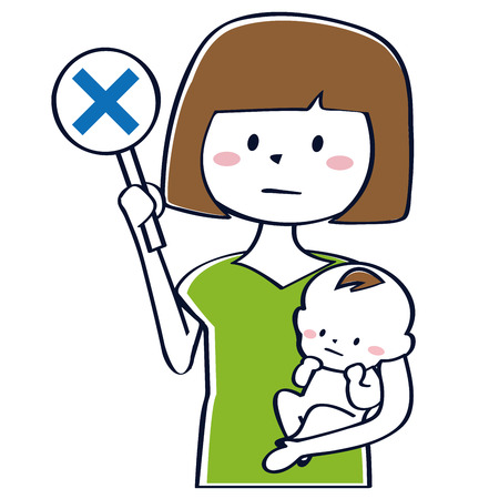 Mother holding a baby has incorrect answer, upper body Illustration