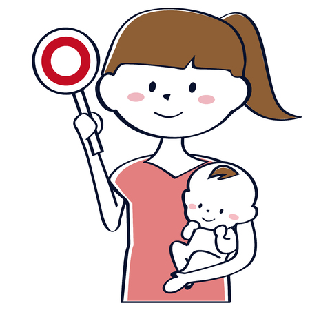 The mother of the ponytail holding the baby has the correct answer, the upper body 写真素材 - 102128531