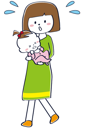 Mama is holding a baby girl who is crying green Illustration