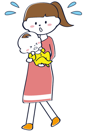 Mama is holding a baby girl who is crying pink Illustration
