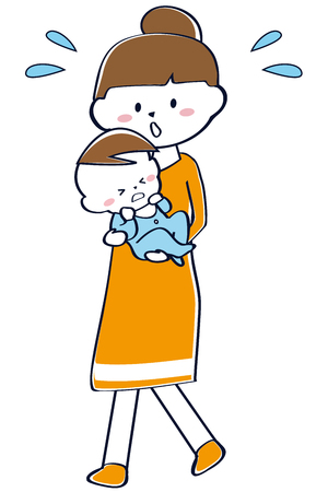 Mama is holding a baby girl who is crying orange Vectores