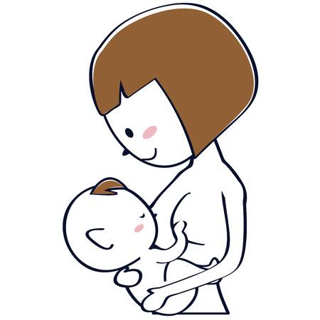Mommy breast mama smile, Bob cut