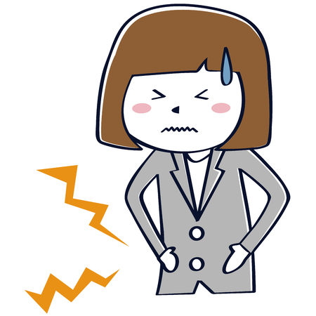 A gray suit business woman has a stomachache 写真素材 - 102129193