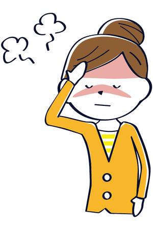 Eine Frau in Oranges Kleidung leidet an einer Erkältung