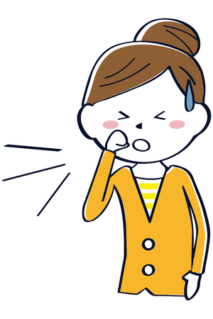 A woman in Oranges clothes is coughing