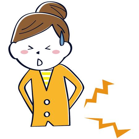 Una mujer vestida de naranja tiene dolor lumbar
