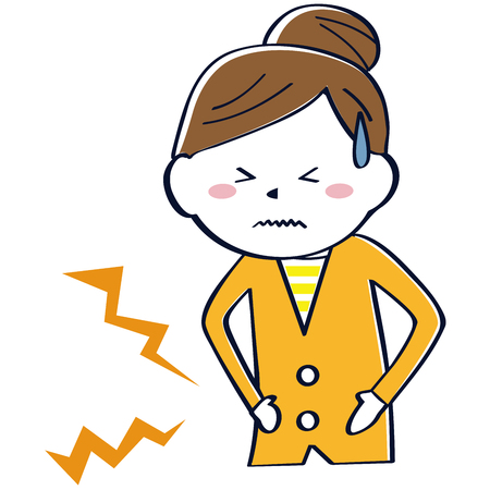 A woman in Oranges clothes has abdominal pain  イラスト・ベクター素材