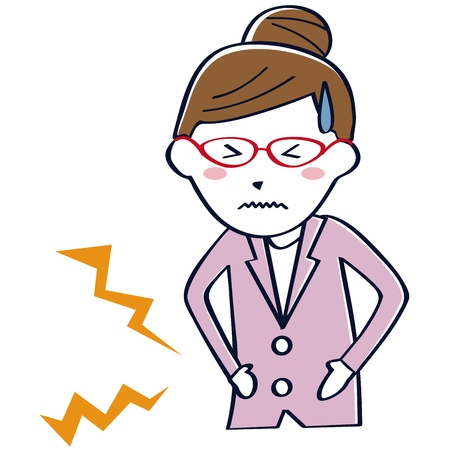 Business woman wearing glasses got abdominal pain Vectores