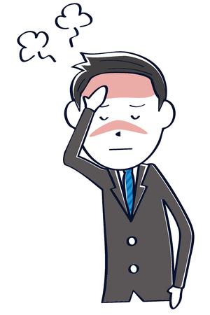 A businessman wearing a dark gray suit has a cold Banco de Imagens - 102129469