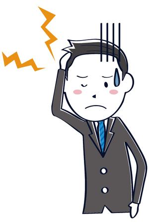 A businessman wearing a dark gray suit has a headache Illustration