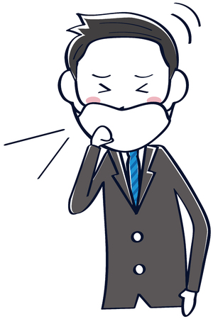 A businessman wearing a dark gray suit masks and coughs Ilustrace