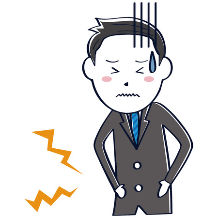 A businessman wearing a dark gray suit has abdominal pain