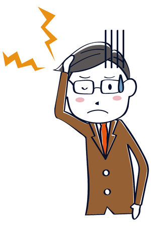 A businessman wearing a brown suit has a headache