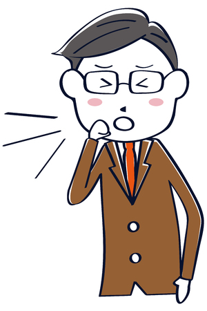 A businessman in a brown suit coughs