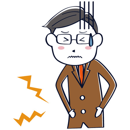 A businessman wearing a brown suit has abdominal pain Illustration