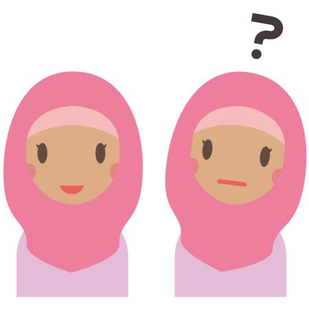 Muslim women in pink clothes have a smile and doubts Illusztráció