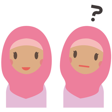 Muslim women in pink clothes have a smile and doubts Illustration