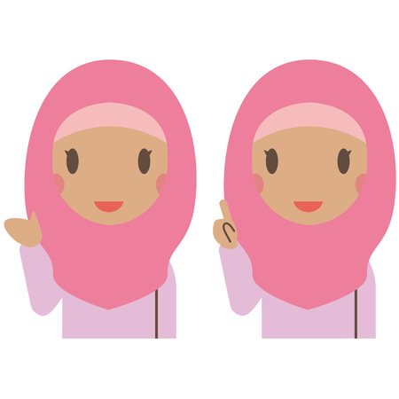 A Muslim woman wearing pink clothes is informing and explaining