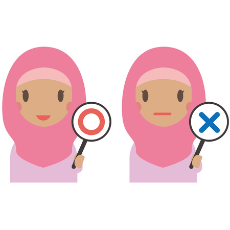 Muslim women wearing pink clothes have x and o