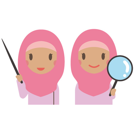A Muslim woman wearing pink clothes has a stick and a magnifying glass Illustration