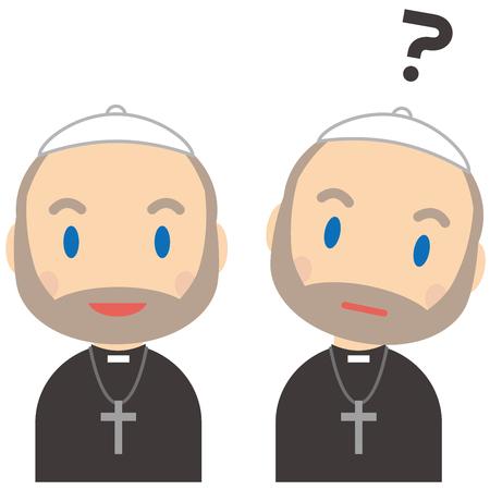 The senior priest has a smile and doubts Ilustração