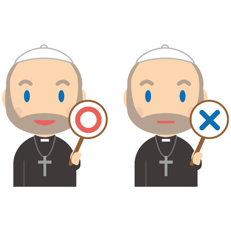 The senior priest has ? and × Illustration