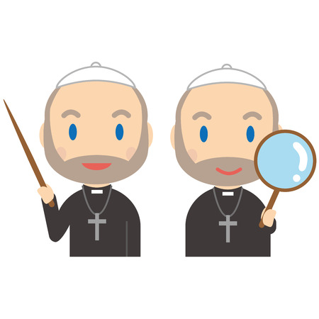 The senior priest has a stick and a magnifying glass