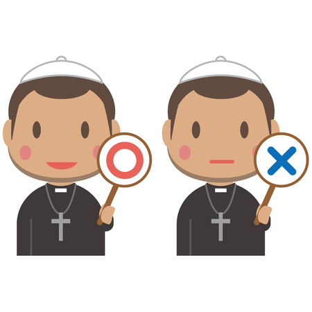 An African short-haired pastor has x and o Illustration