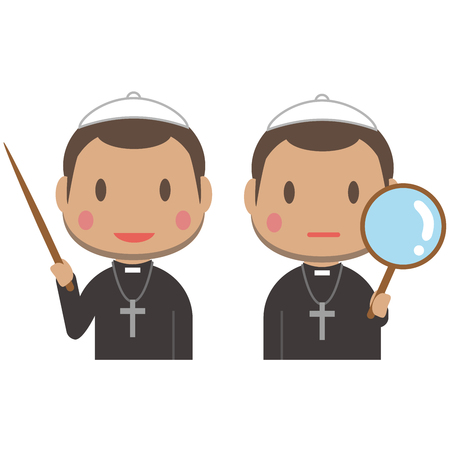 An African short-haired pastor has a stick and a magnifying glass Illustration
