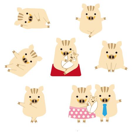 Seven pose set of boar