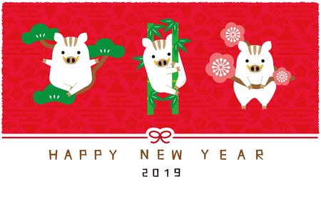 New Years card of 2019 pine tree, bamboo and plum and bird red background