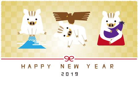 New Year cards 2019 Pale golden background and boar