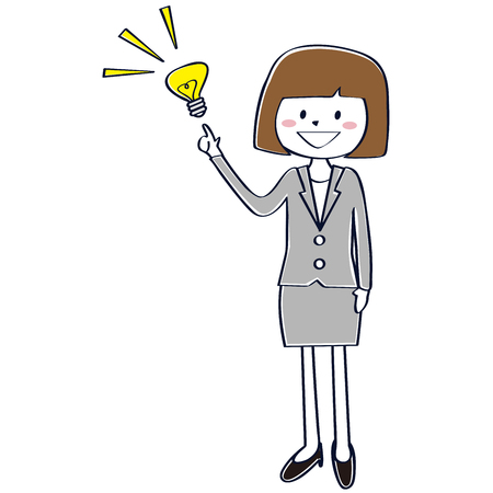 A business woman in a gray suit comes up  イラスト・ベクター素材