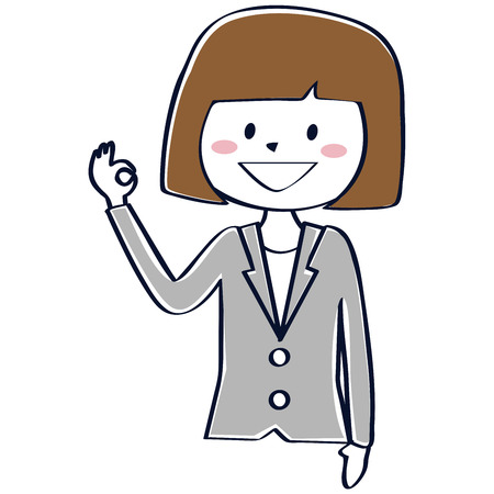 A business woman in a gray suit is doing an OK pose  イラスト・ベクター素材