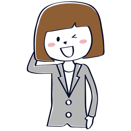 The business woman in a gray suit is shy  イラスト・ベクター素材