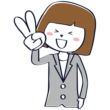 A business woman in a gray suit is peace sign  イラスト・ベクター素材