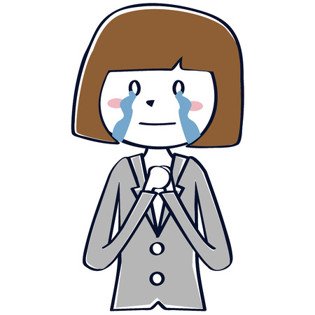A business woman in a gray suit is crying  イラスト・ベクター素材
