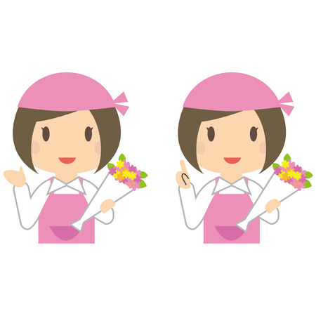 A woman in a flower shop is referring to a case Illustration