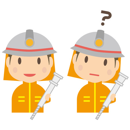 Firefighter has a smile and doubts Illustration