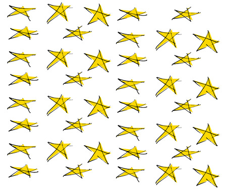 Line drawing Yellow star pattern 일러스트
