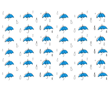 Line drawing Blue umbrella and rain pattern