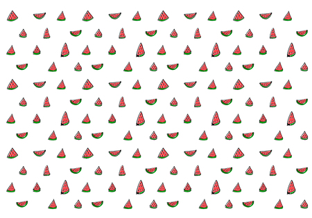 Black line drawing Watermelon textile  イラスト・ベクター素材