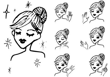 Cute female beauty line drawing
