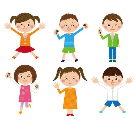 Six cute kids Illustration