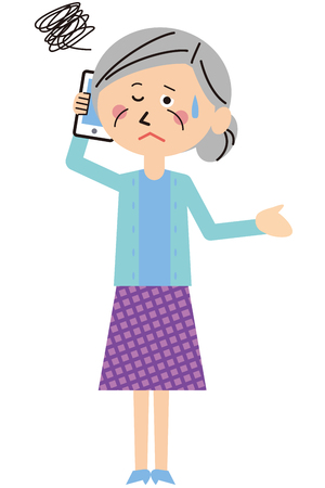 A senior woman is having trouble on the phone