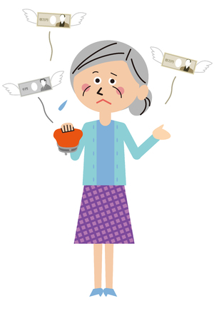 A senior woman is in trouble with money