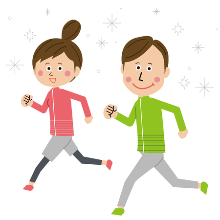 Pop male and female couple are running