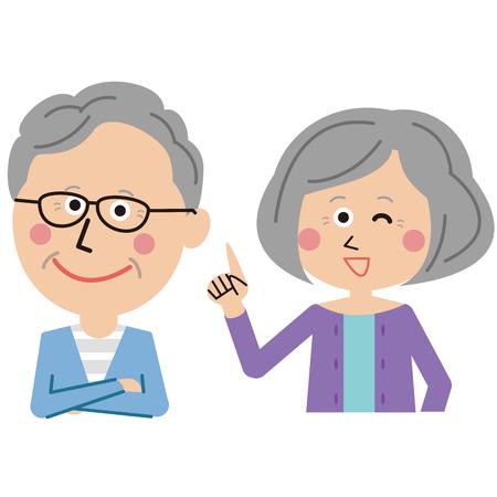 Senior men and women couple explain