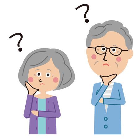 Senior men and women couple are suffering