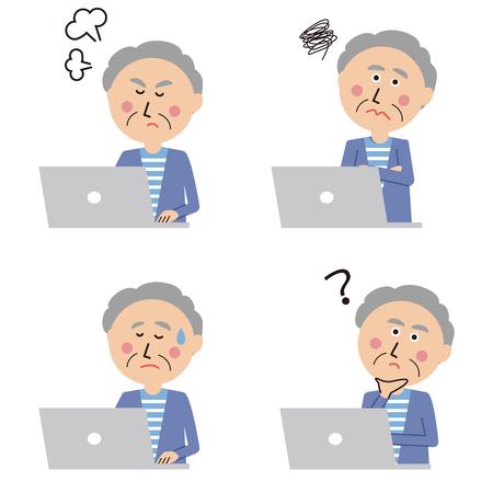 A senior man is posing four negative negatives on a laptop computer